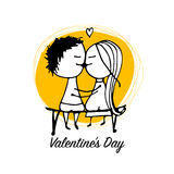 Couple in love kissing, valentine sketch for your design Royalty Free Stock Images