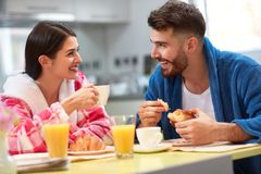 Morning in kitchen with breakfast together royalty free stock photography
