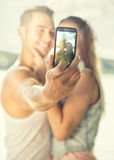 Couple in love on the lake, close-up, selfie Royalty Free Stock Images