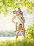 Couple in love on the lake, hug Royalty Free Stock Photo