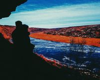 Couple love lake nistru moldova Stock Photography