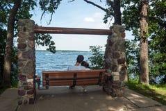 Couple in love on the lake shore, Spirit Lake, Iowa Royalty Free Stock Photo