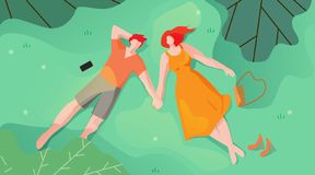 Couple in Love Lie on Grass and Look at Sky Flat. Romance Relationship for Couples. Man and Woman Show Signs Attention, Affection and Care for Each other. Rest stock illustration