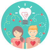 Couple in love with a light bulb in a blue circle Stock Photography