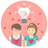 Couple in love with a light bulb in a pink circle Royalty Free Stock Photo