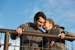 Couple and love locks Royalty Free Stock Photo