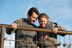 Couple and love locks Royalty Free Stock Images