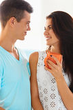 Couple in love looking deeply into each other's eyes Royalty Free Stock Photos