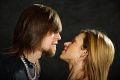 Couple in love looking deeply into eyes Royalty Free Stock Photos