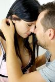 Couple in love looking at each other nose to nose Stock Photo