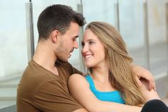 Couple in love looking each other outdoor Stock Photo