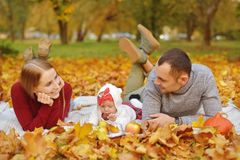 Couple in love are lying on autumn fallen leaves in a park, lying on the rug , enjoying a beautiful autumn day. Happy joyful young royalty free stock photo