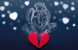 Couple in love made of smoke coming from heart box, Valentines D Stock Photos