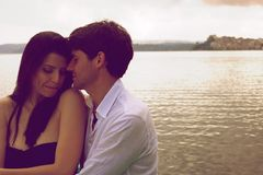 Couple in love magic romantic moment during sunset Royalty Free Stock Images