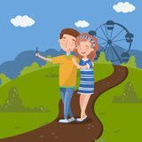 Couple in love making selfie in front of ferris wheel, summer landscape vector illustration, design element for poster. Couple in love making selfie in front of Stock Image