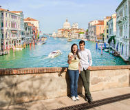 Couple in love making the selfie photo in Venice Stock Image