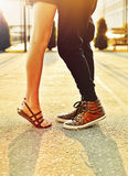 Couple in love. Male and female legs closeup Stock Photography
