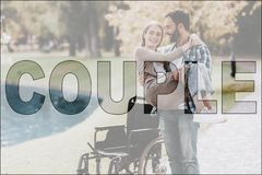 Couple in Love. Man and Disabled Girl in Park royalty free stock photography