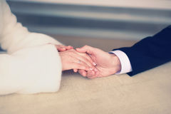 Couple in love, man gently holds the hand of a woman Stock Images