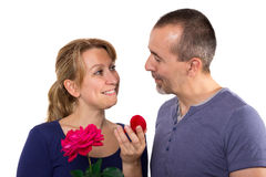 Couple in love. Man makes a present to his wife Royalty Free Stock Image