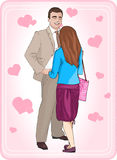 Couple in love. Man smiling looking at beautiful woman. Young girl stands face to man. Valentine's Day. Vector illustration. Couple in love. Man smiling looking Stock Photos