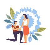 Couple in love, man and woman dating male making proposition stock illustration