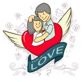Couple in love. Man and woman embracing each other affectionately and flower line art,doodle style stock illustration