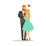 Couple in love, man and woman embracing each other, romantic date colorful characters vector Illustration Royalty Free Stock Photography