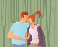 A couple in love. Man and woman walking among trees in a Park or in the woods. Vector illustration. Stock Images