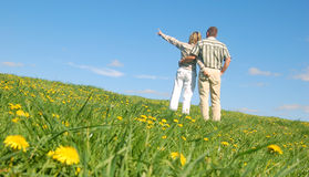 Couple in love on meadow Stock Image