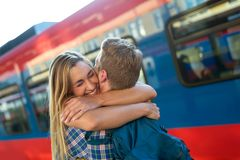 Couple reuinion after long separation Stock Image