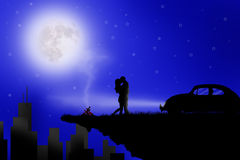 Couple love in the moon light Royalty Free Stock Image