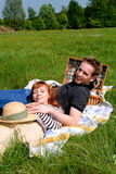 Couple love nature. Young handsome couple, man and woman in love, nature setting royalty free stock photography