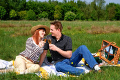 Couple love nature. Young handsome couple, man and woman in love, nature setting royalty free stock photo