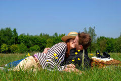 Couple love nature. Young handsome couple on picnic, nature setting stock photo