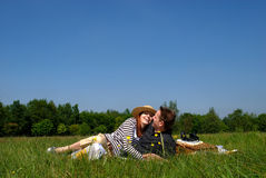Couple love nature. Young handsome couple, man and woman in love, nature setting stock photos