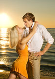 Couple in love near the ocean Royalty Free Stock Photo