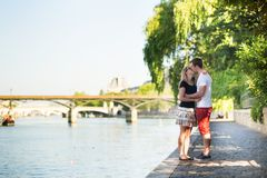 Couple in love near the Seine Royalty Free Stock Photography