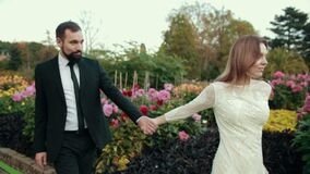 Couple in love newlyweds. Bride in white wedding dress holds leads hand of groom stock video footage
