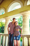 Couple in love at the old house. toned image Royalty Free Stock Photo