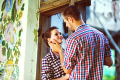 Couple in love at the old house. toned image Royalty Free Stock Photography