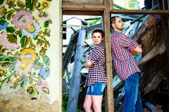 Couple in love at the old house Stock Photography