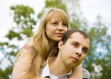 Couple in love outdoors Royalty Free Stock Photo