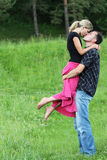 Couple in love outdoors Stock Photos
