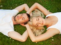 Couple in love outdoors Stock Image