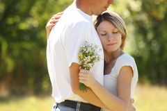 Couple in love outdoors Royalty Free Stock Image