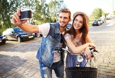 Happy tourists taking photo of themselves Royalty Free Stock Photography