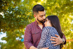 Couple in love outdoors stock photo