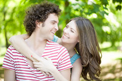 Couple in Love Outdoors Stock Images