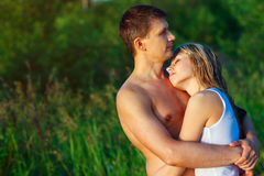 Couple in love outdoors. Royalty Free Stock Photos